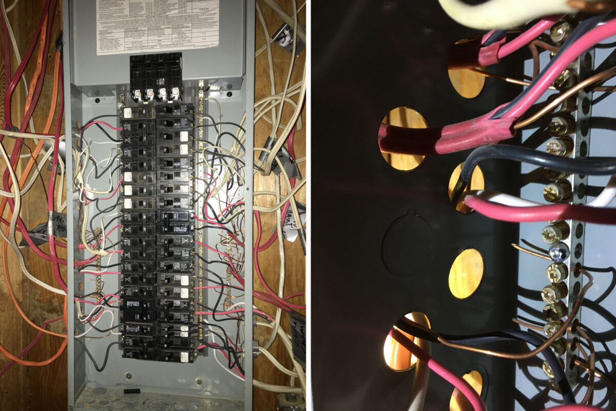 200 amp Service electrical panel with the wiring visible